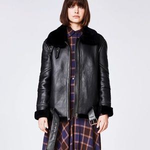 SOLD --BRAND NEW - Shearling and real leather coat